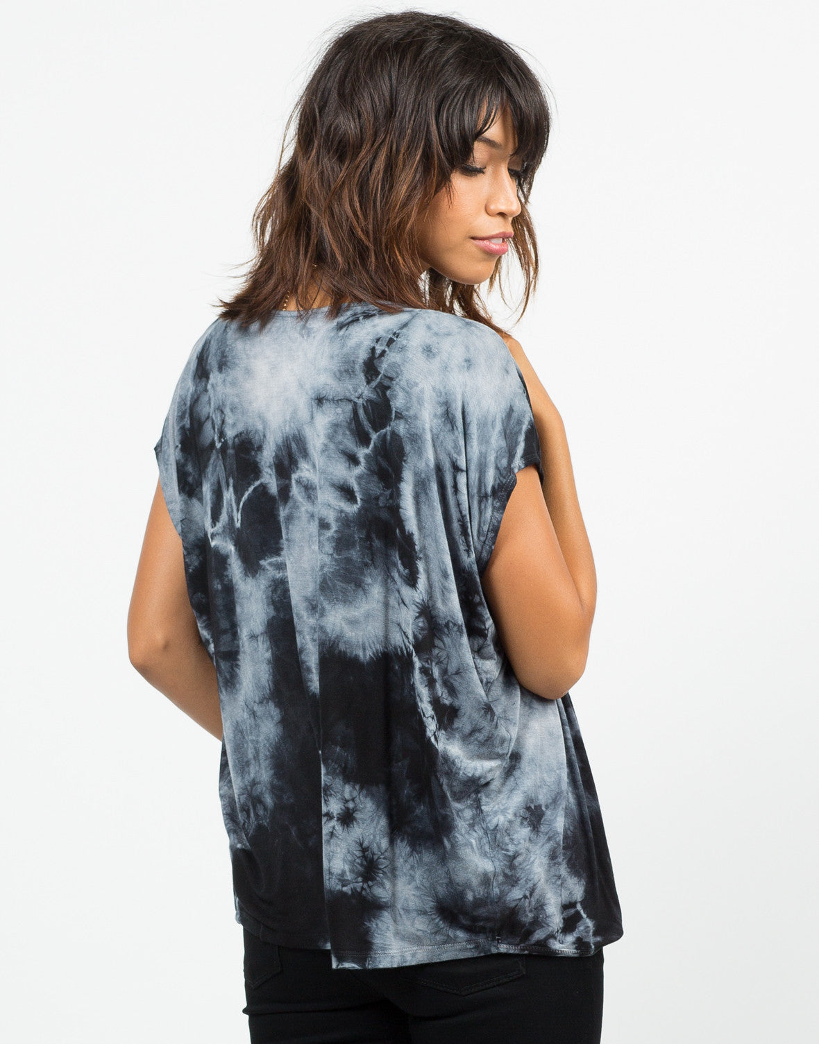 Back View of Twist Front Tie-Dye Top