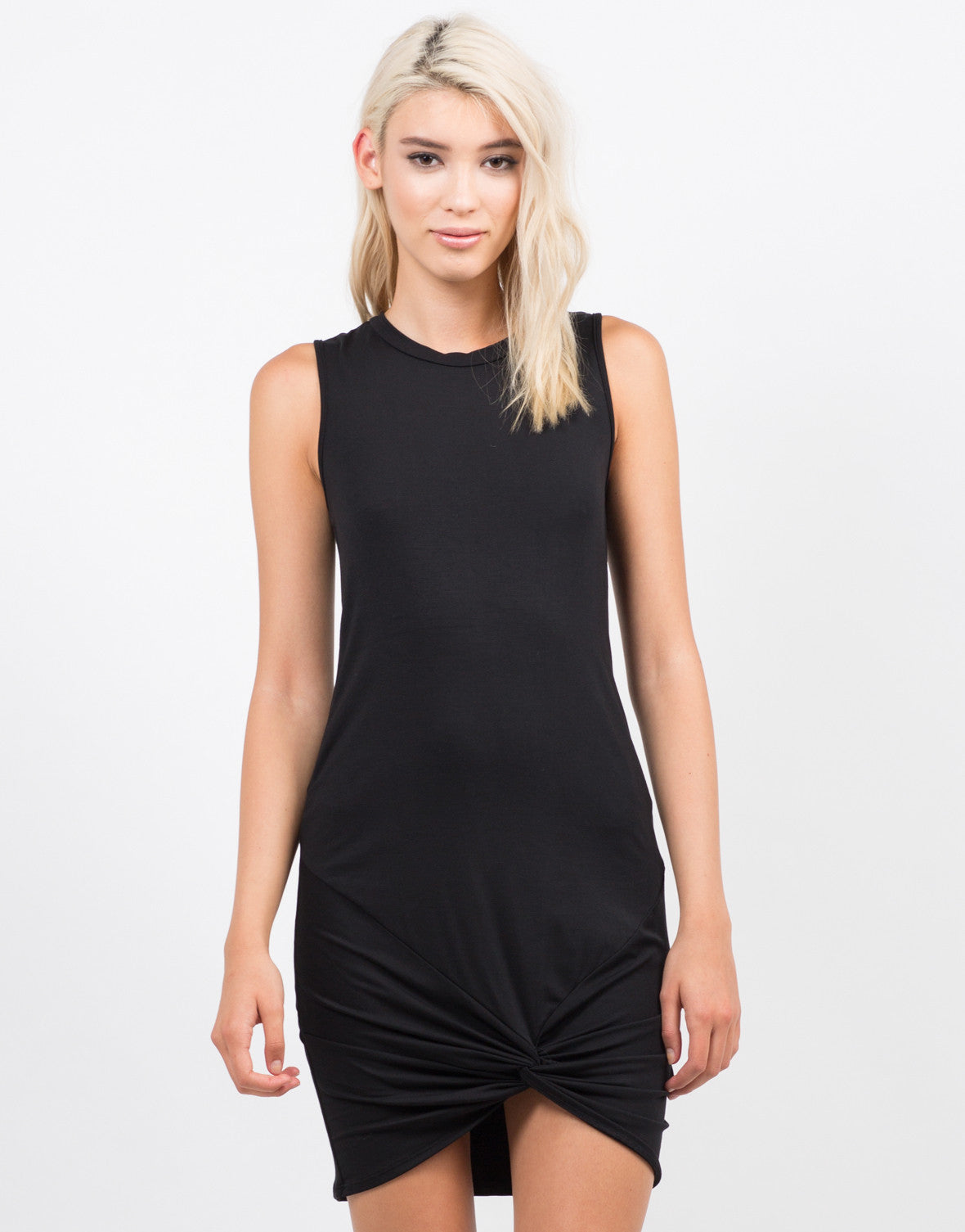 Front View of Twist It Sleeveless Dress