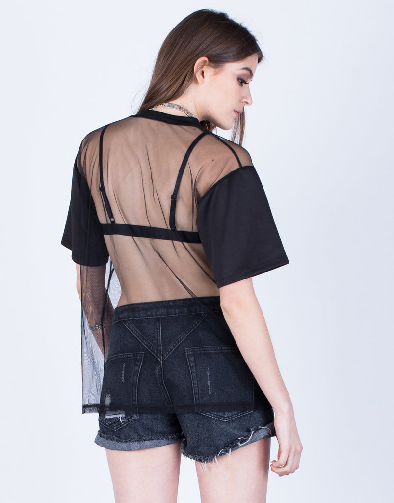 Back View of Two in One Mesh Top