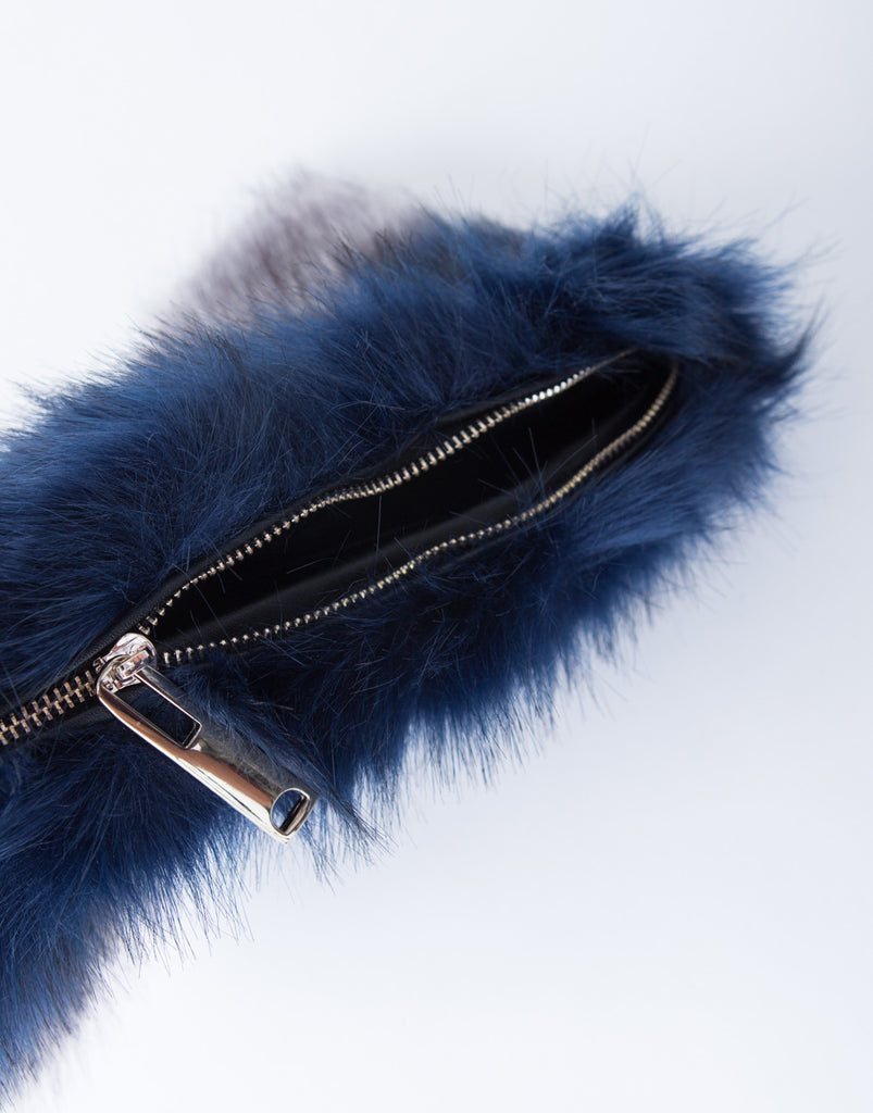 Two-Tone Fur Crossbody Pouch