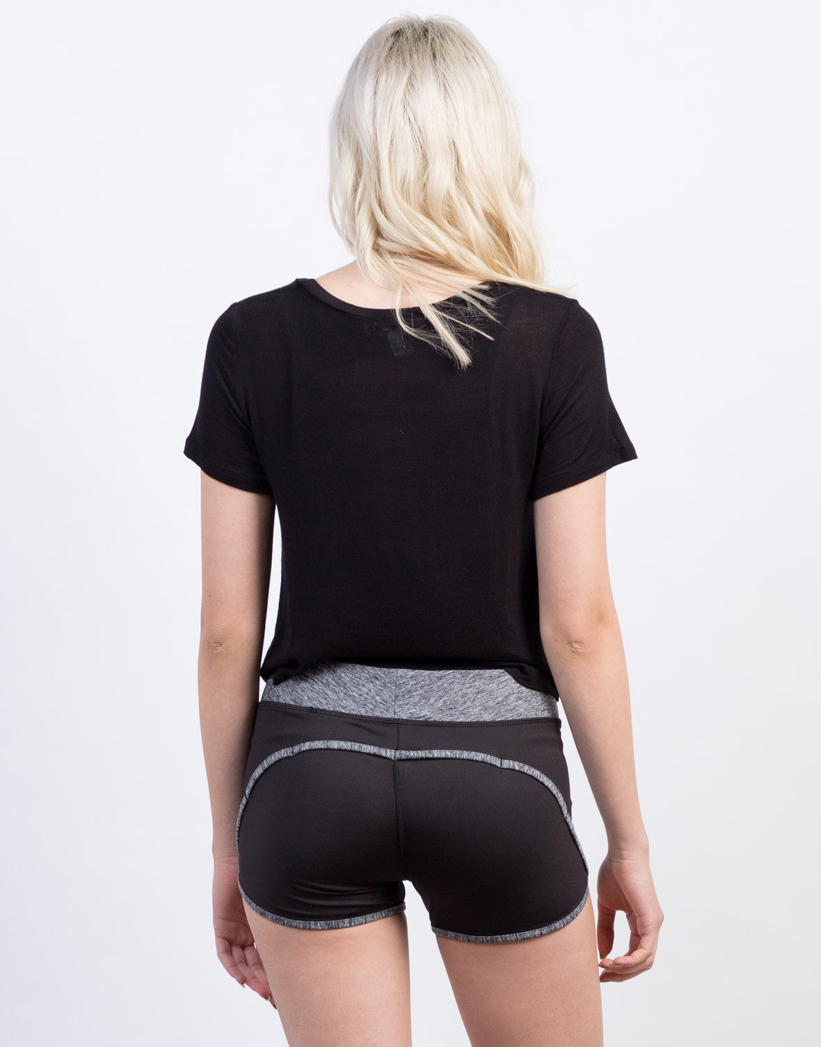 Back View of Two-Tone Workout Shorts