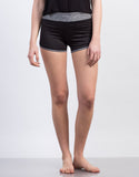 Front View of Two-Tone Workout Shorts