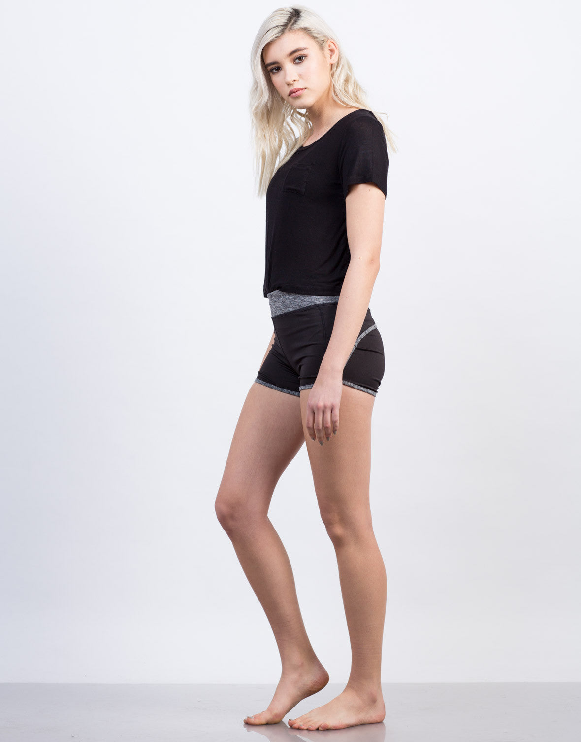 Side View of Two-Tone Workout Shorts