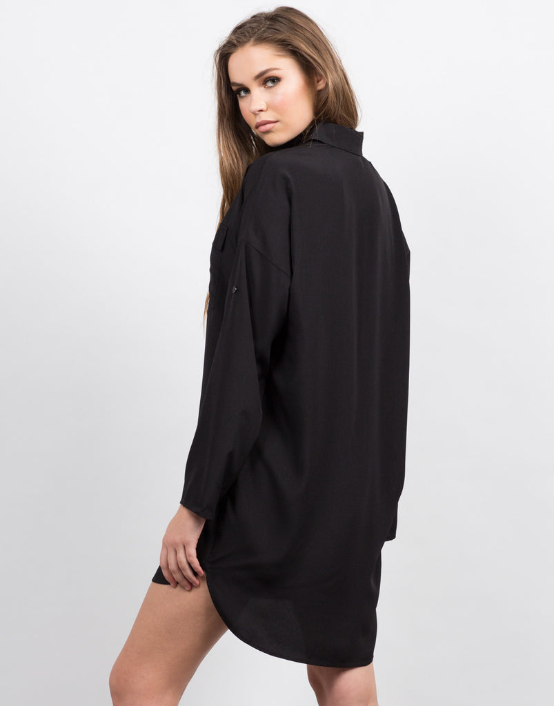 Two Front Pocket Button Up Shirt Dress - 2020AVE