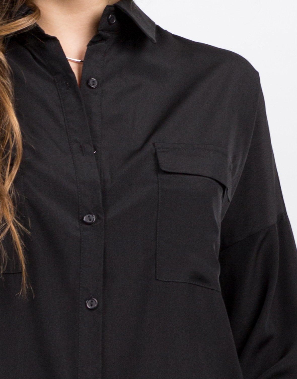 Detail of Two Front Pocket Button Up Shirt Dress