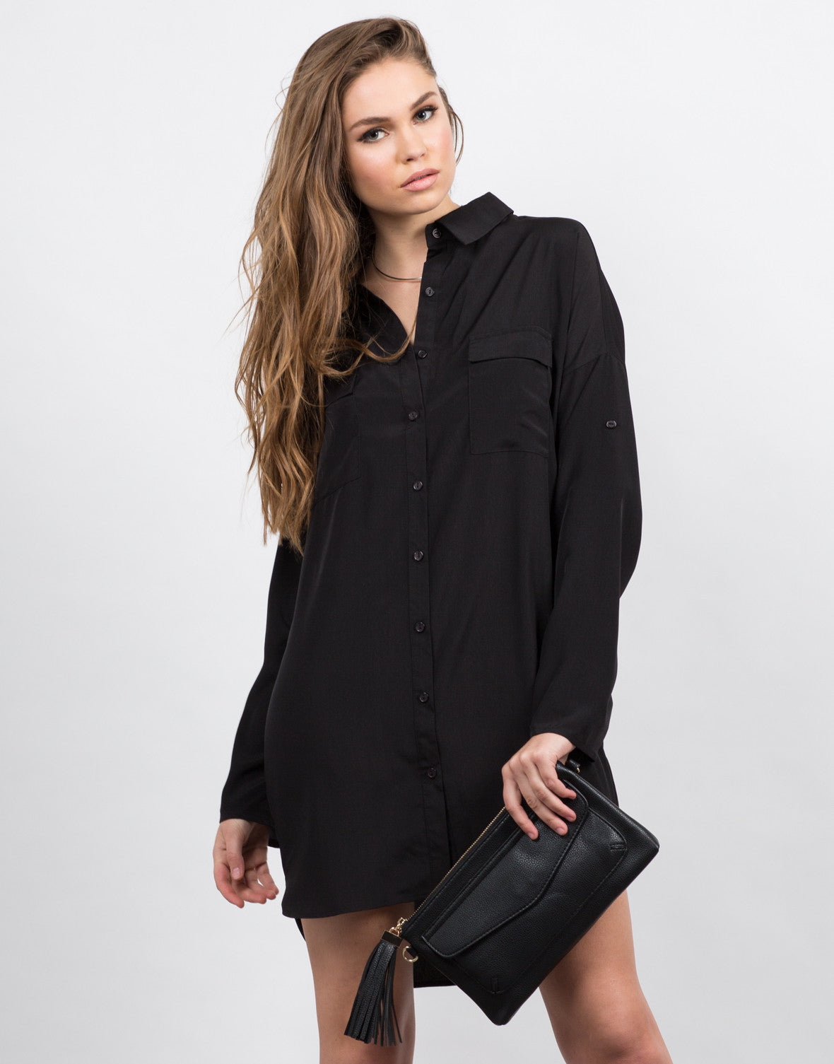 Front View of Two Front Pocket Button Up Shirt Dress