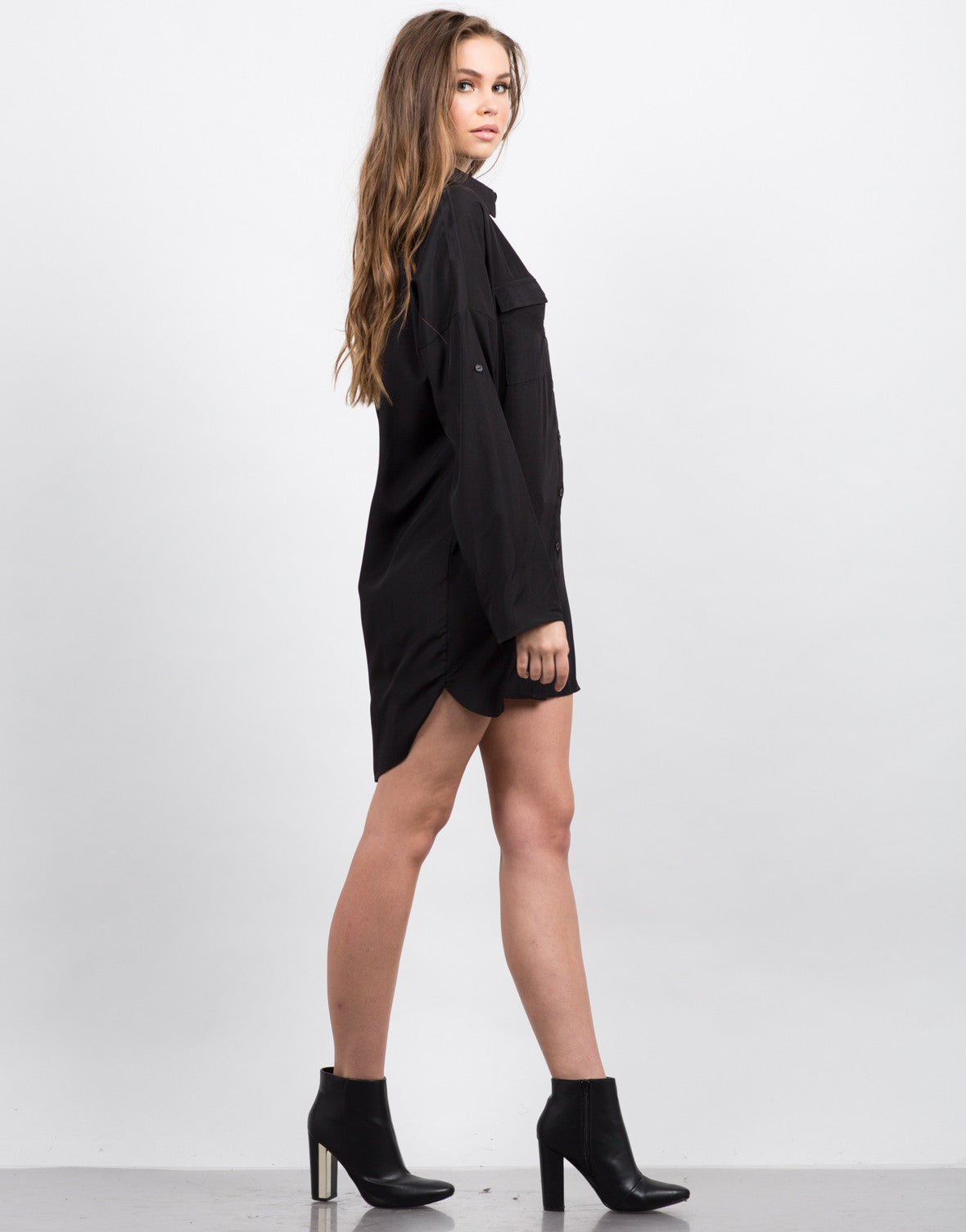 Side View of Two Front Pocket Button Up Shirt Dress