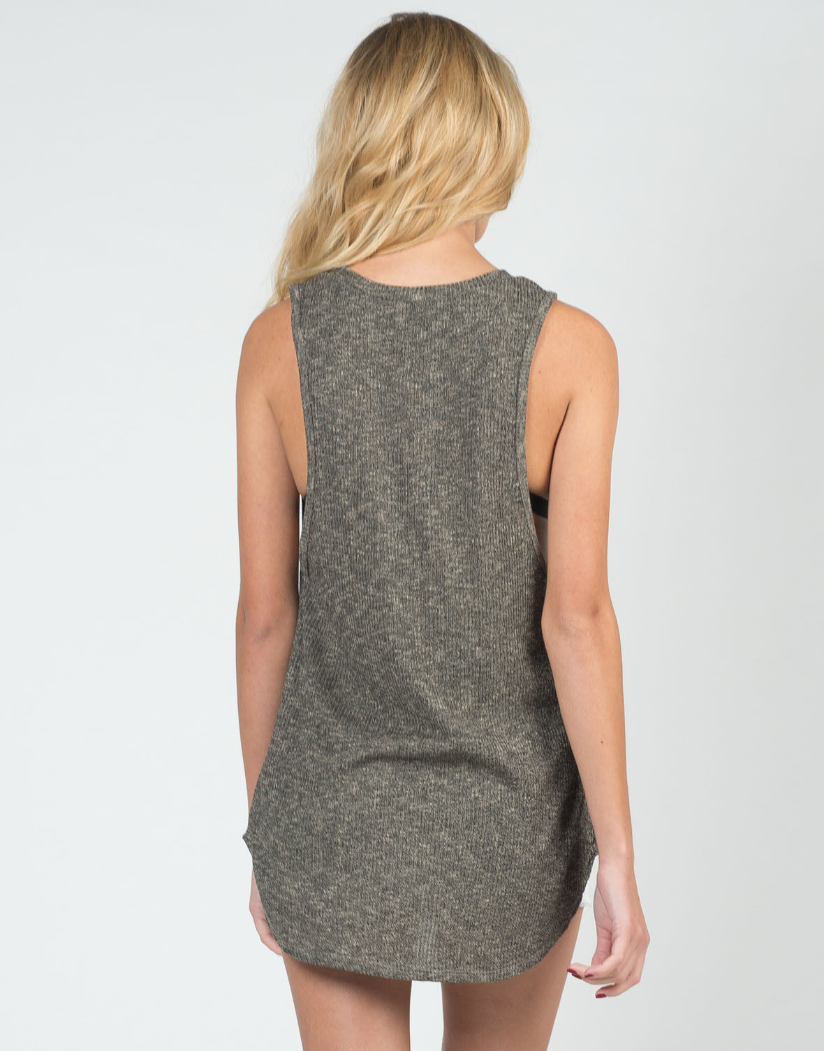 Back View of Two Tone Knitted Tank