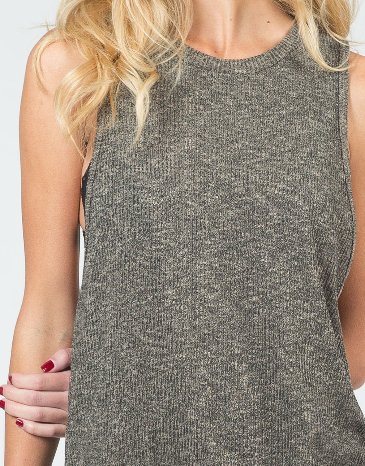 Detail of Two Tone Knitted Tank