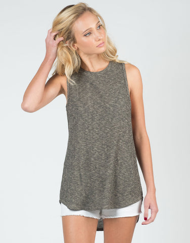 Front View of Two Tone Knitted Tank