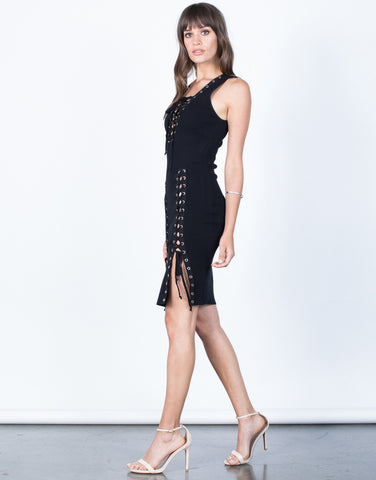 Side View of Ultimate Lace-Up Dress