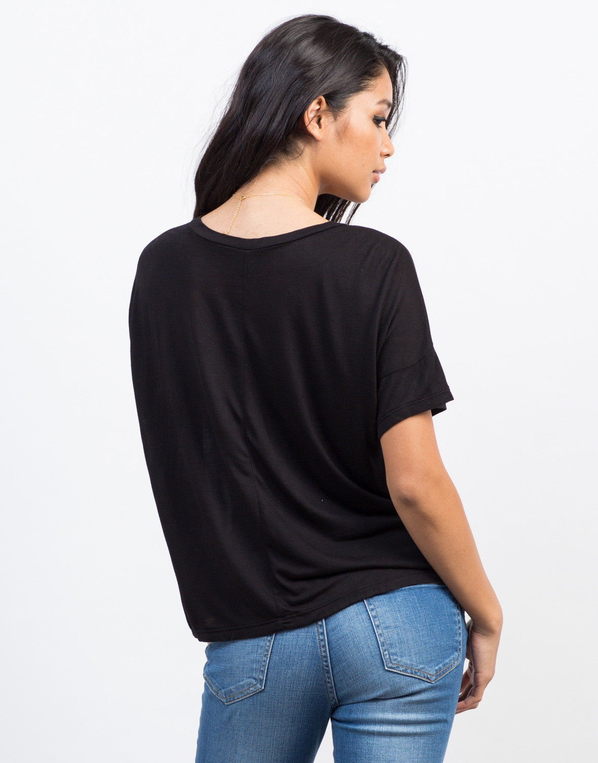 Back View of V-Neck Boxy Tee