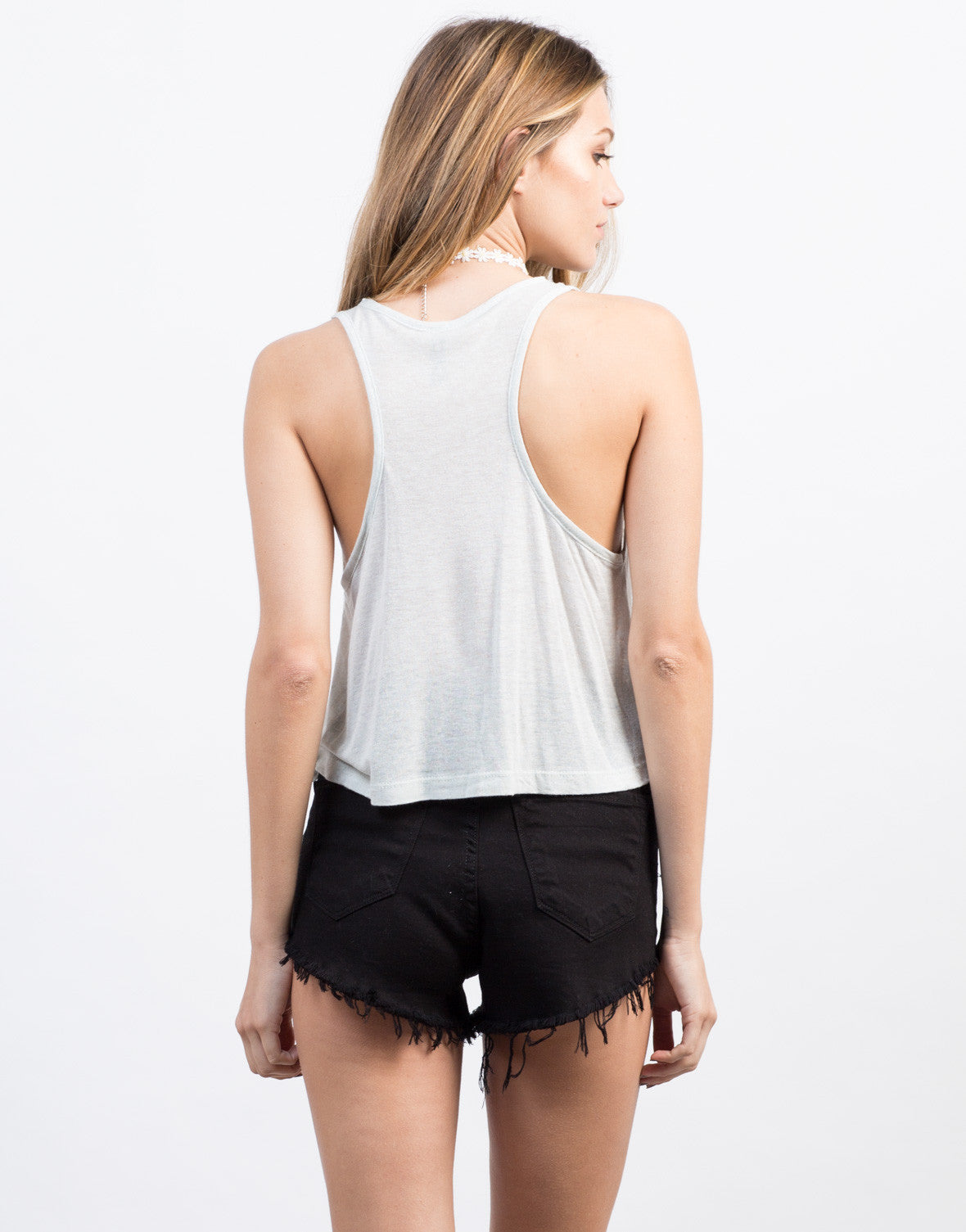 Back View of V-Neck Cropped Tank