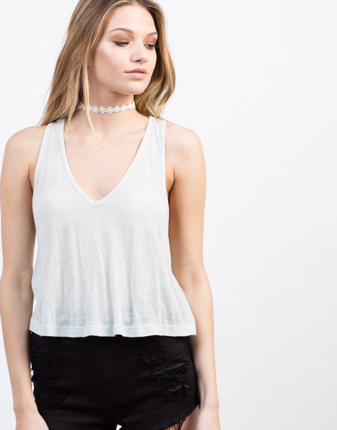 Detail of V-Neck Cropped Tank