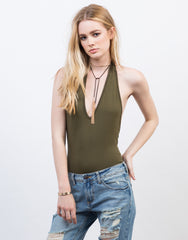 V-Neck Halter Bodysuit