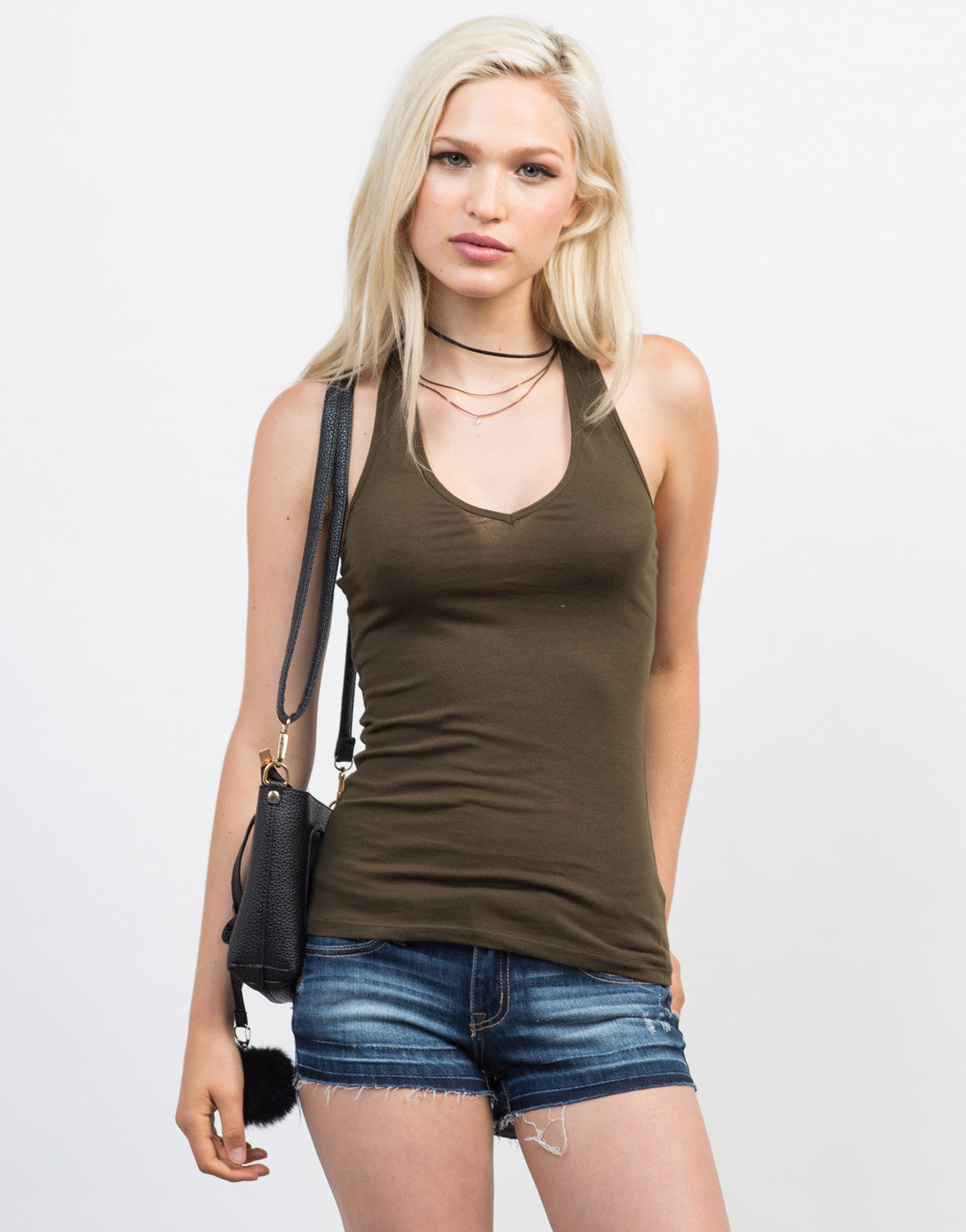 Front View of V-Neck Halter Tank