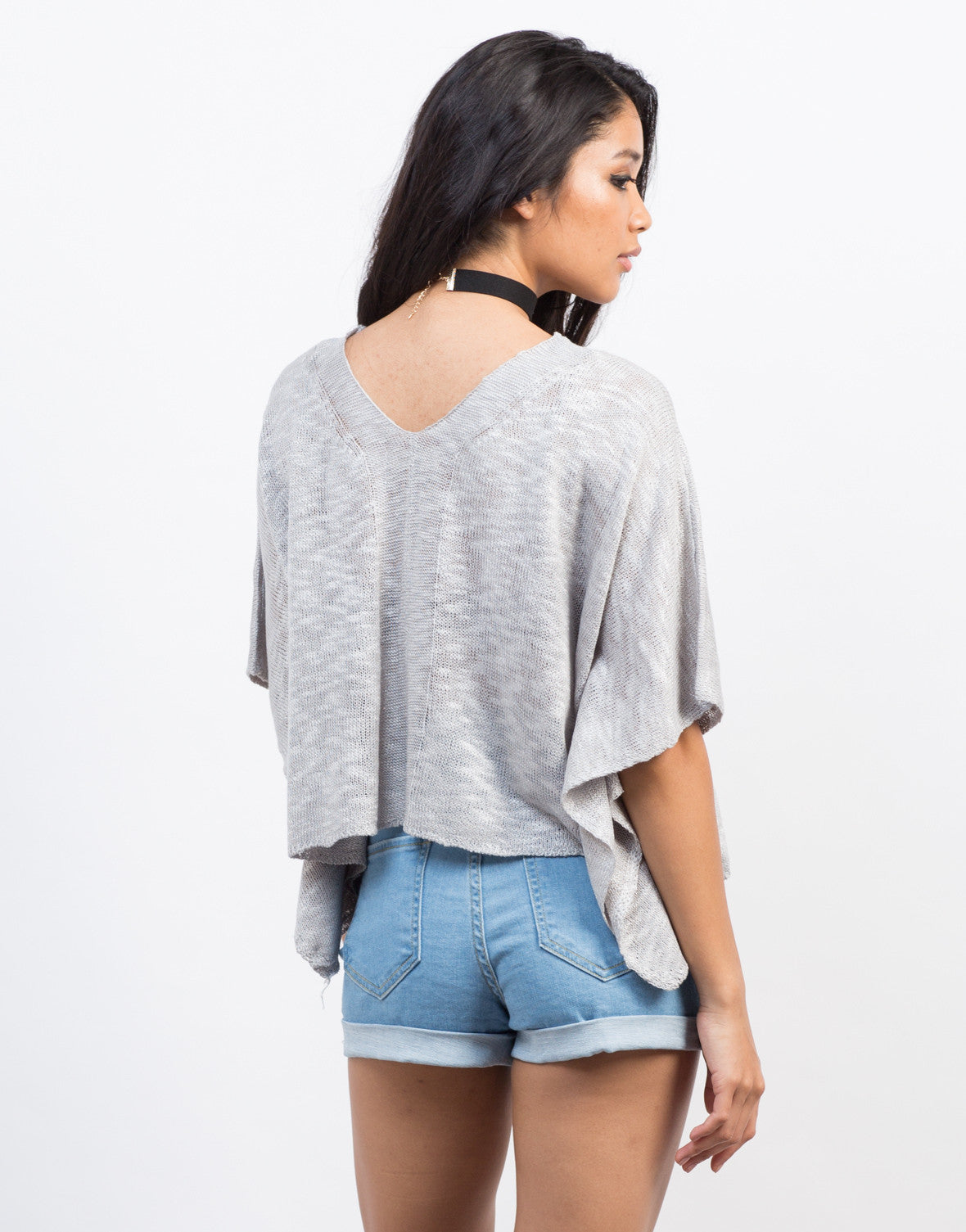 Back View of V-Neck Knit Cropped Top