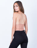 Back View of V-Neck Mesh Bodysuit
