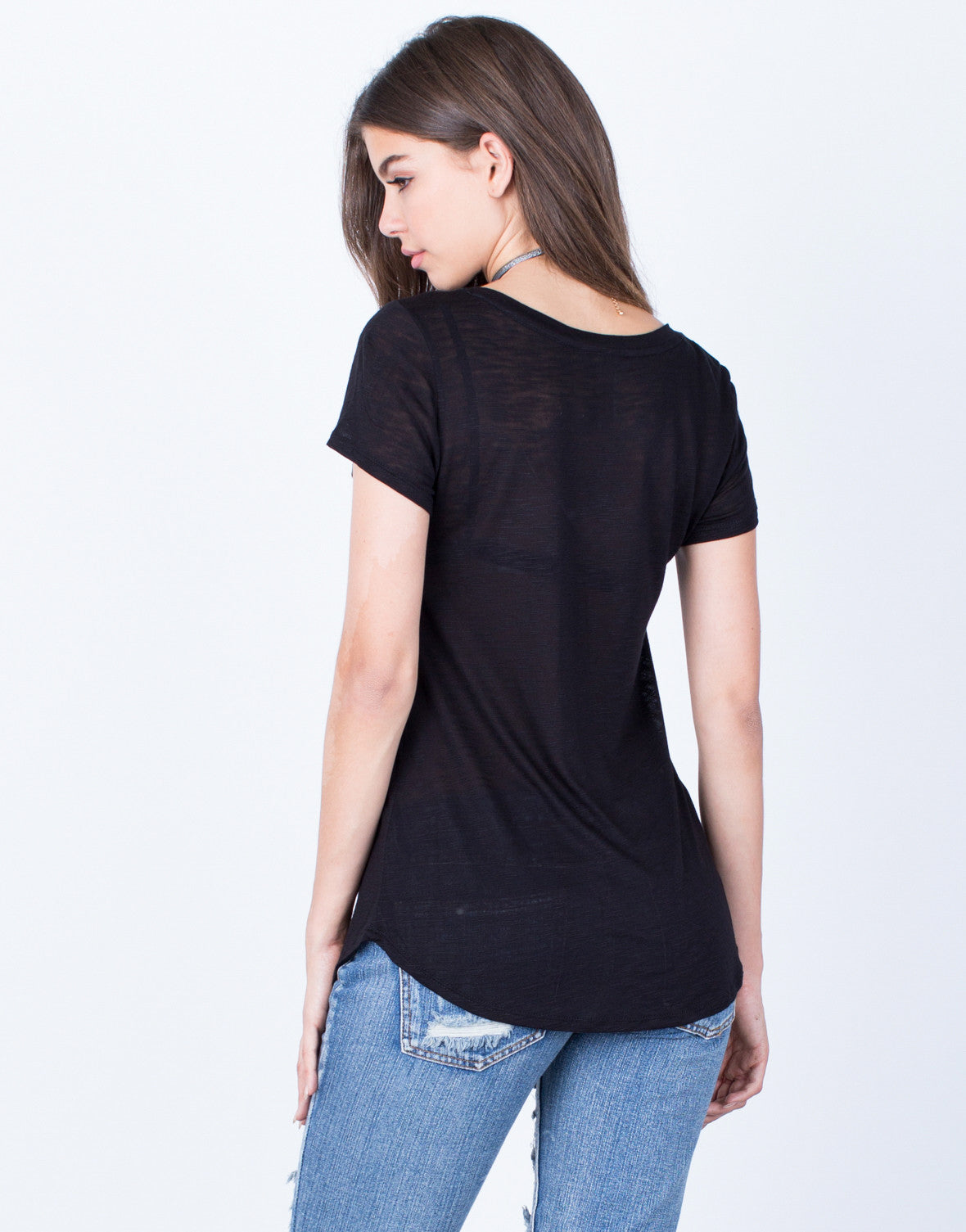 Back View of V-Neck Pocket Tee