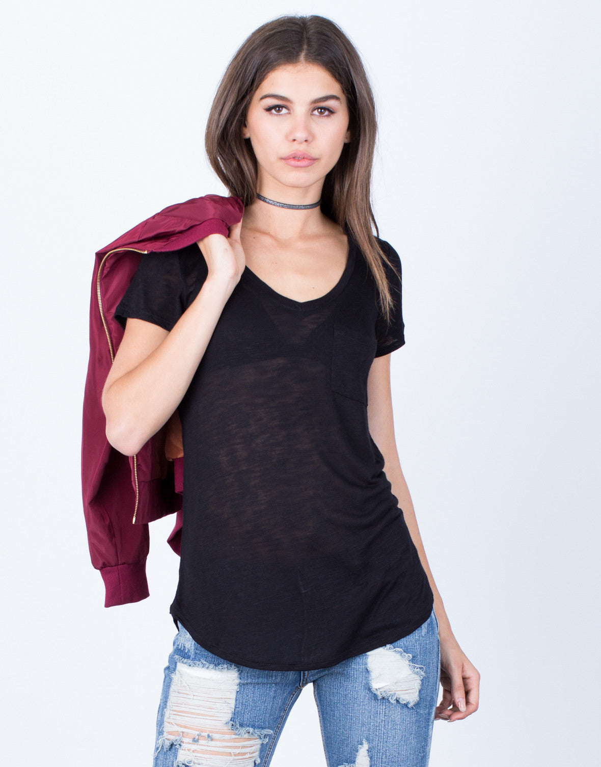 Front View of V-Neck Pocket Tee