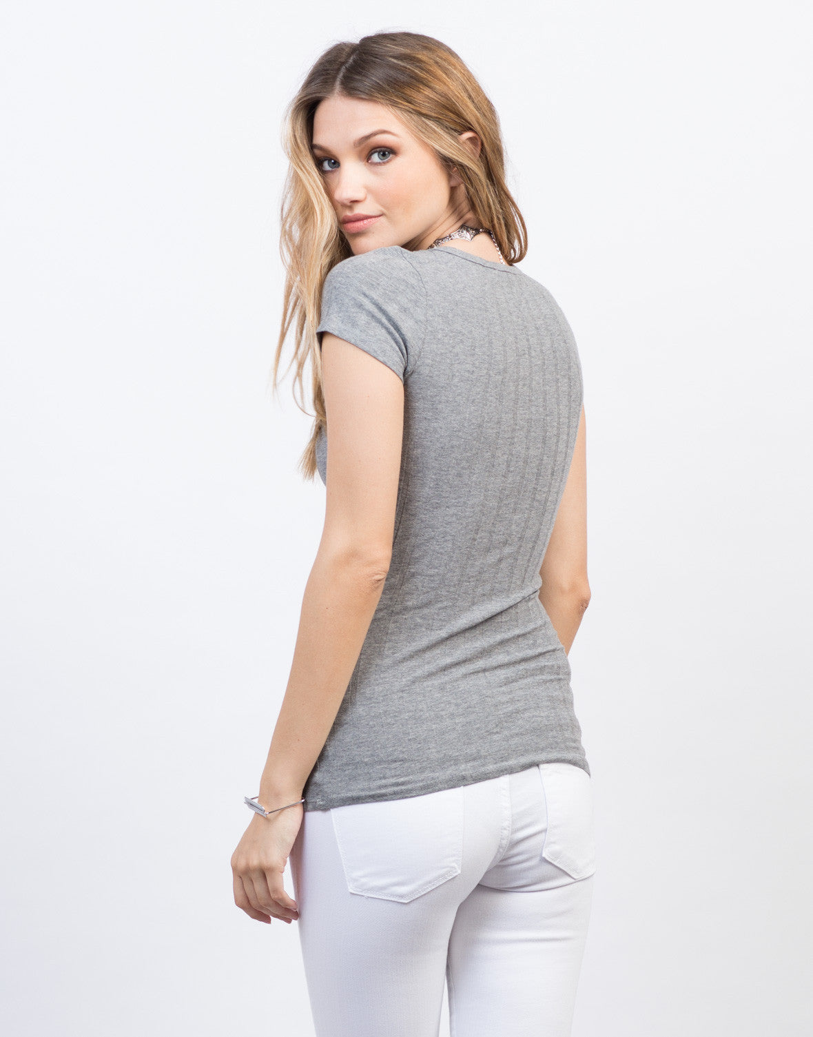 V-Neck Ribbed Tee