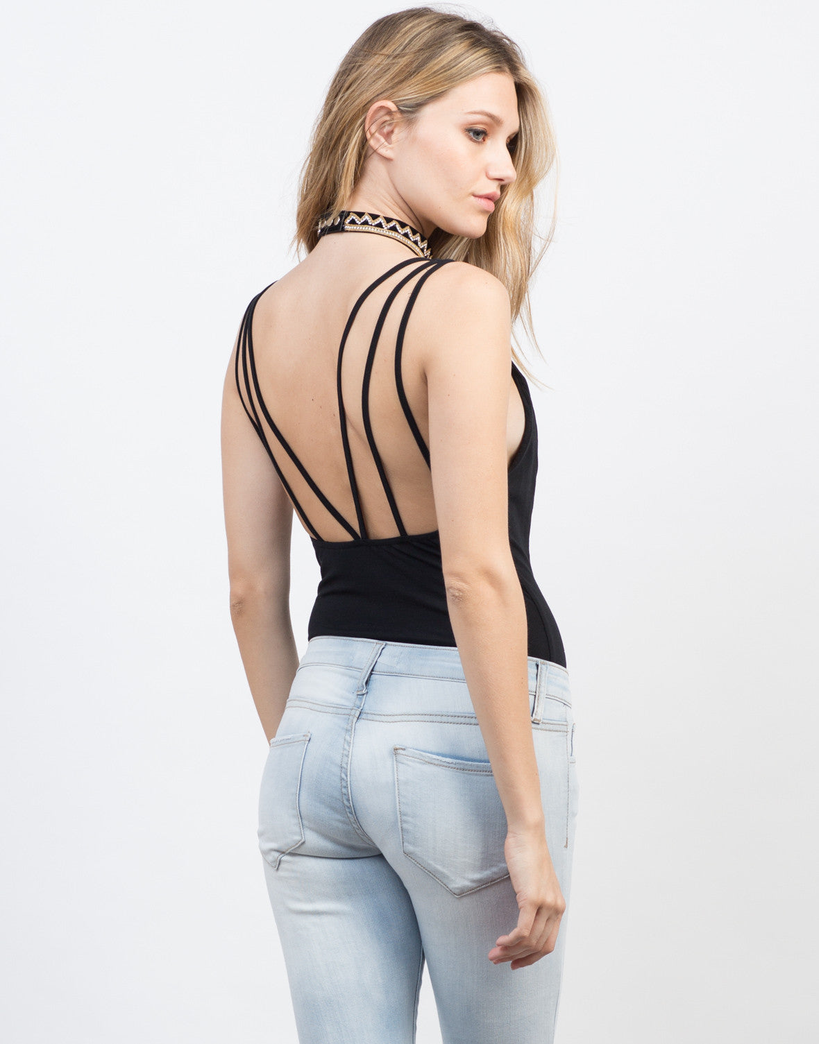 Back View of V-Neck Strappy Bodysuit