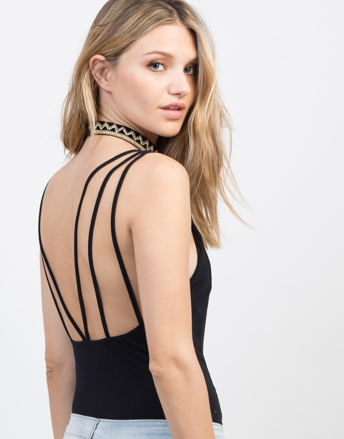 Detail of V-Neck Strappy Bodysuit