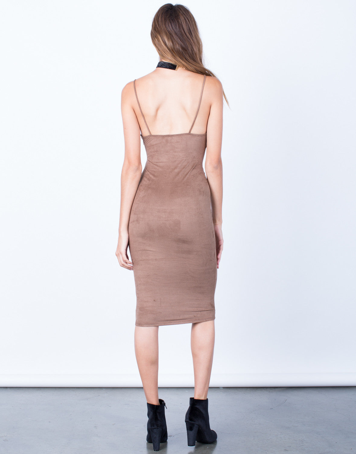 Back View of V-Neck Suede Slip Dress