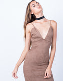 Detail of V-Neck Suede Slip Dress