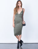 Front View of V-Neck Suede Slip Dress