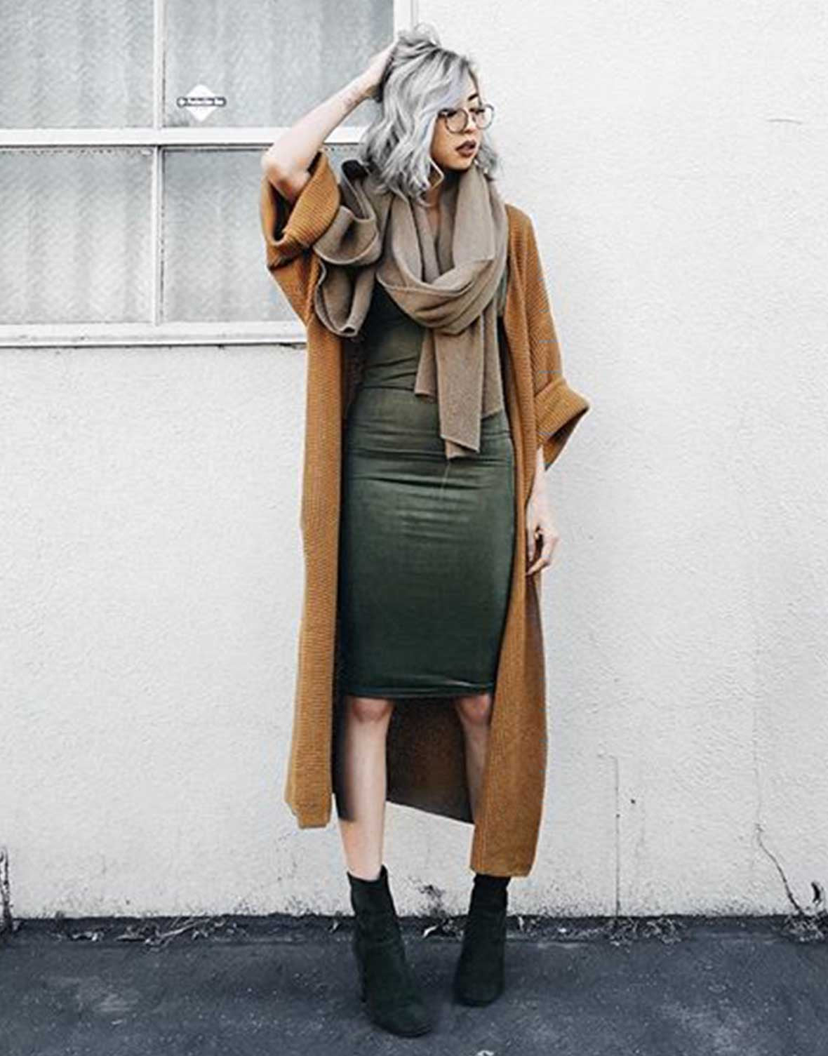 V-Neck Suede Slip Dress