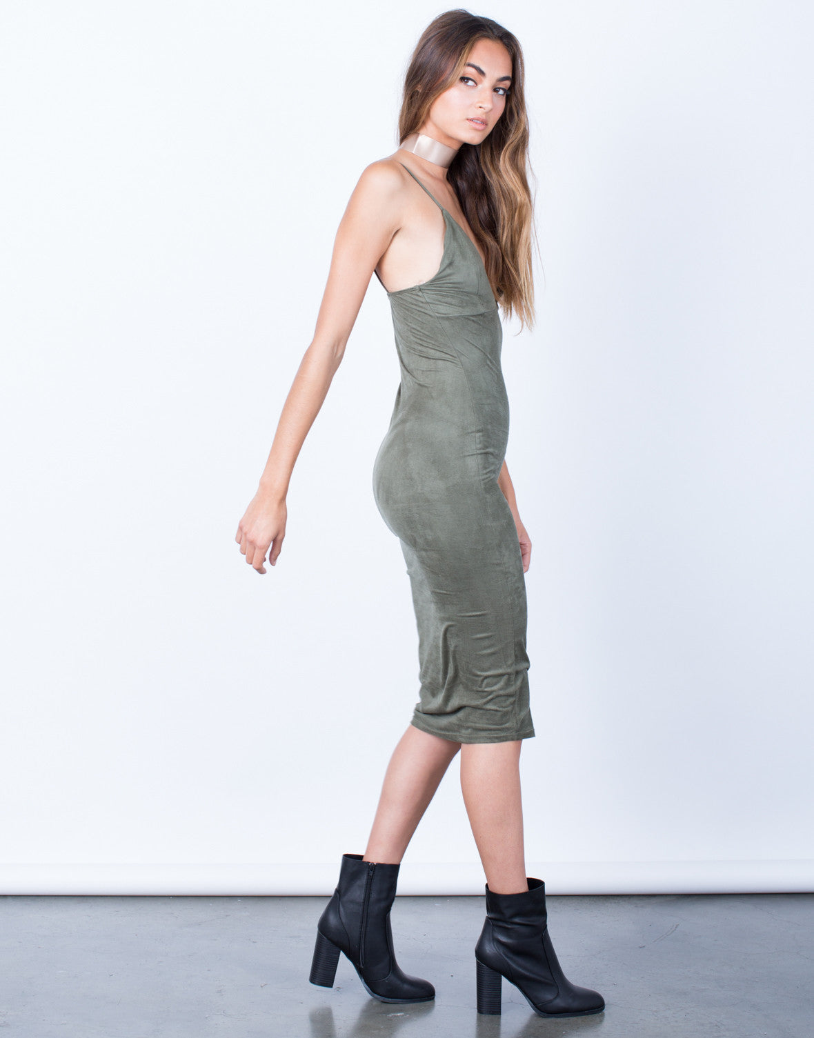 Side View of V-Neck Suede Slip Dress