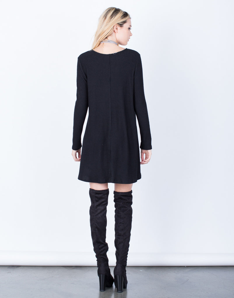 Back View of V-Neck Tunic Dress