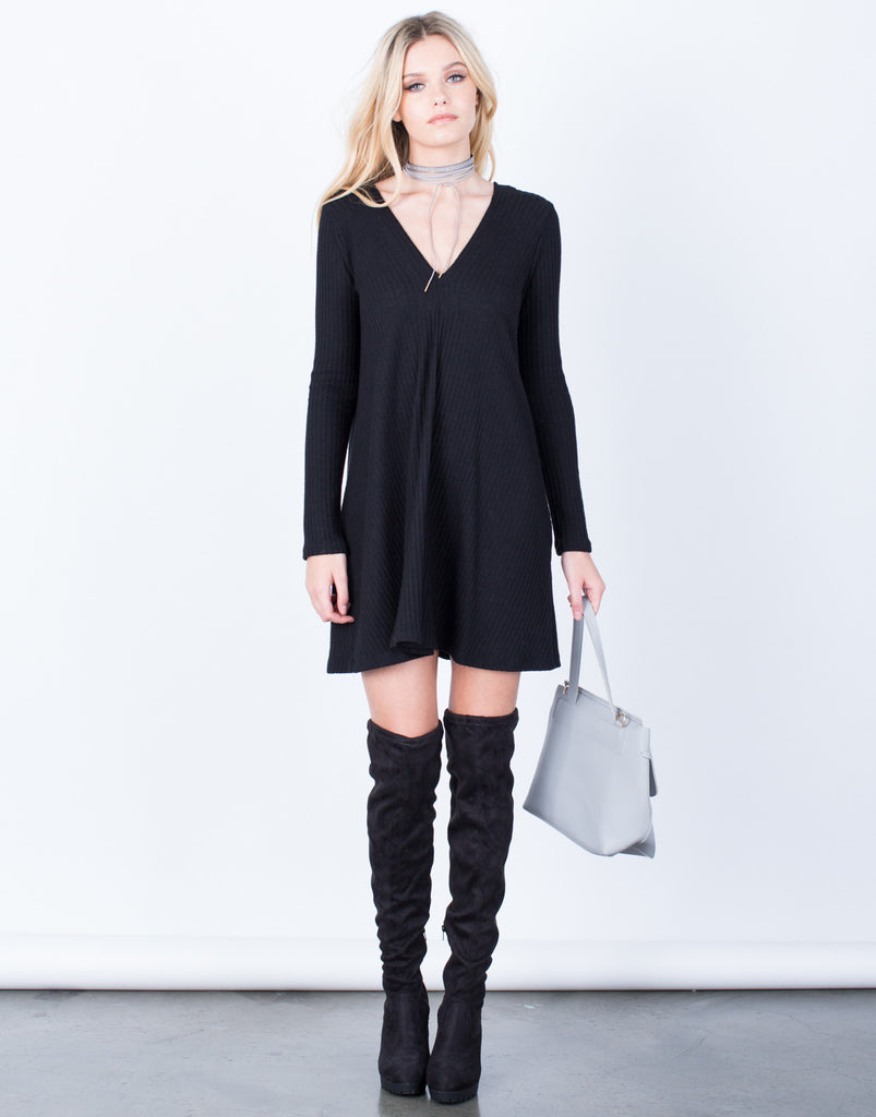 Front View of V-Neck Tunic Dress