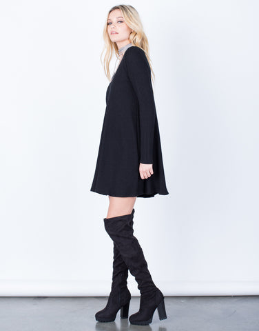Side View of V-Neck Tunic Dress