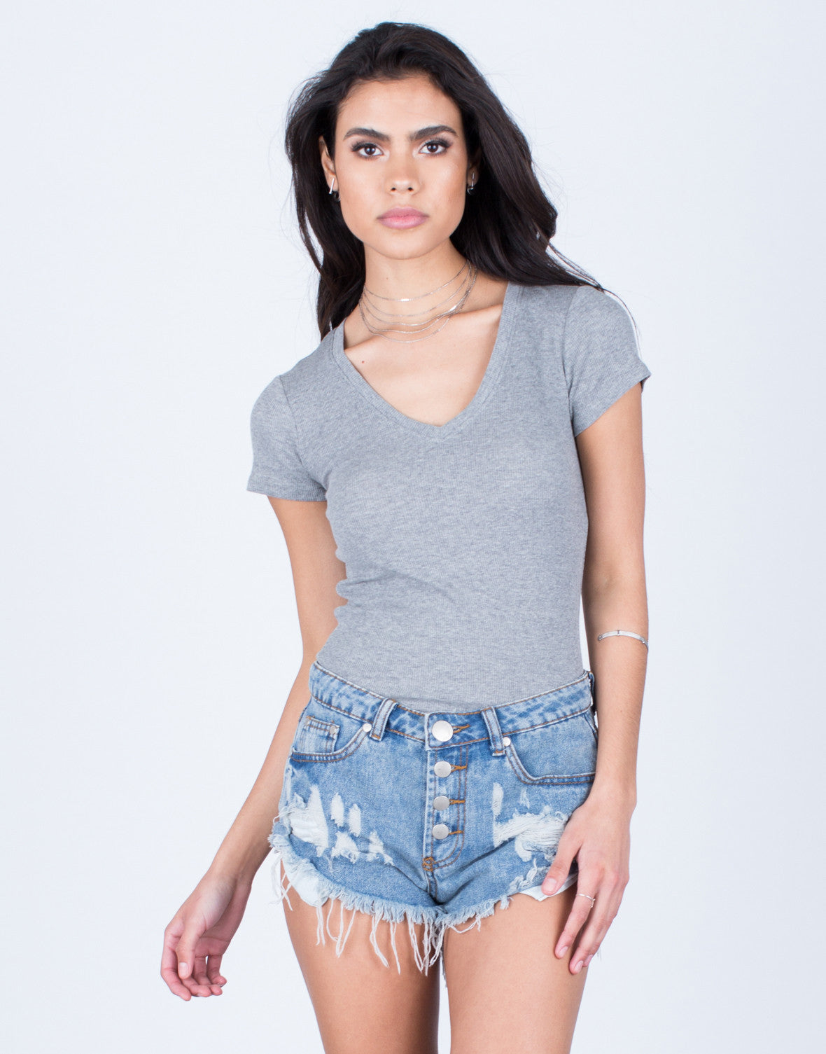 Front View of V-Neck Tunic Tee