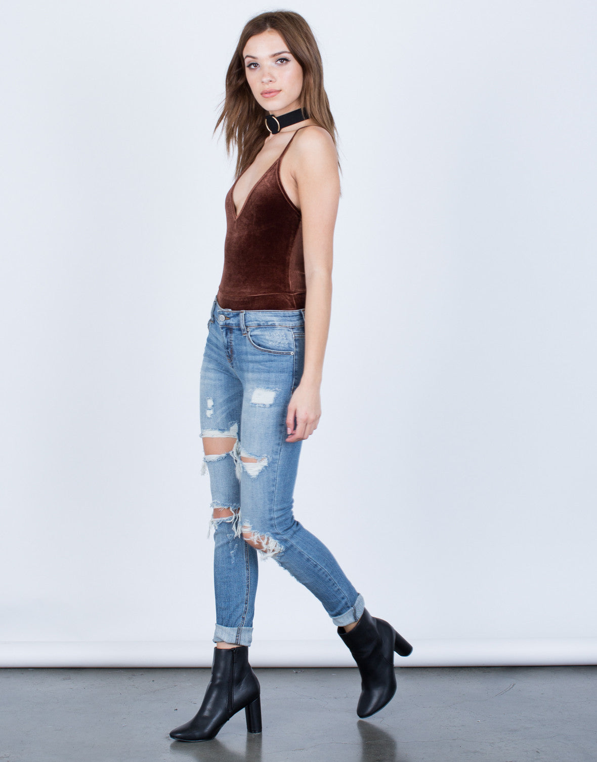 V-Neck Velvet Bodysuit