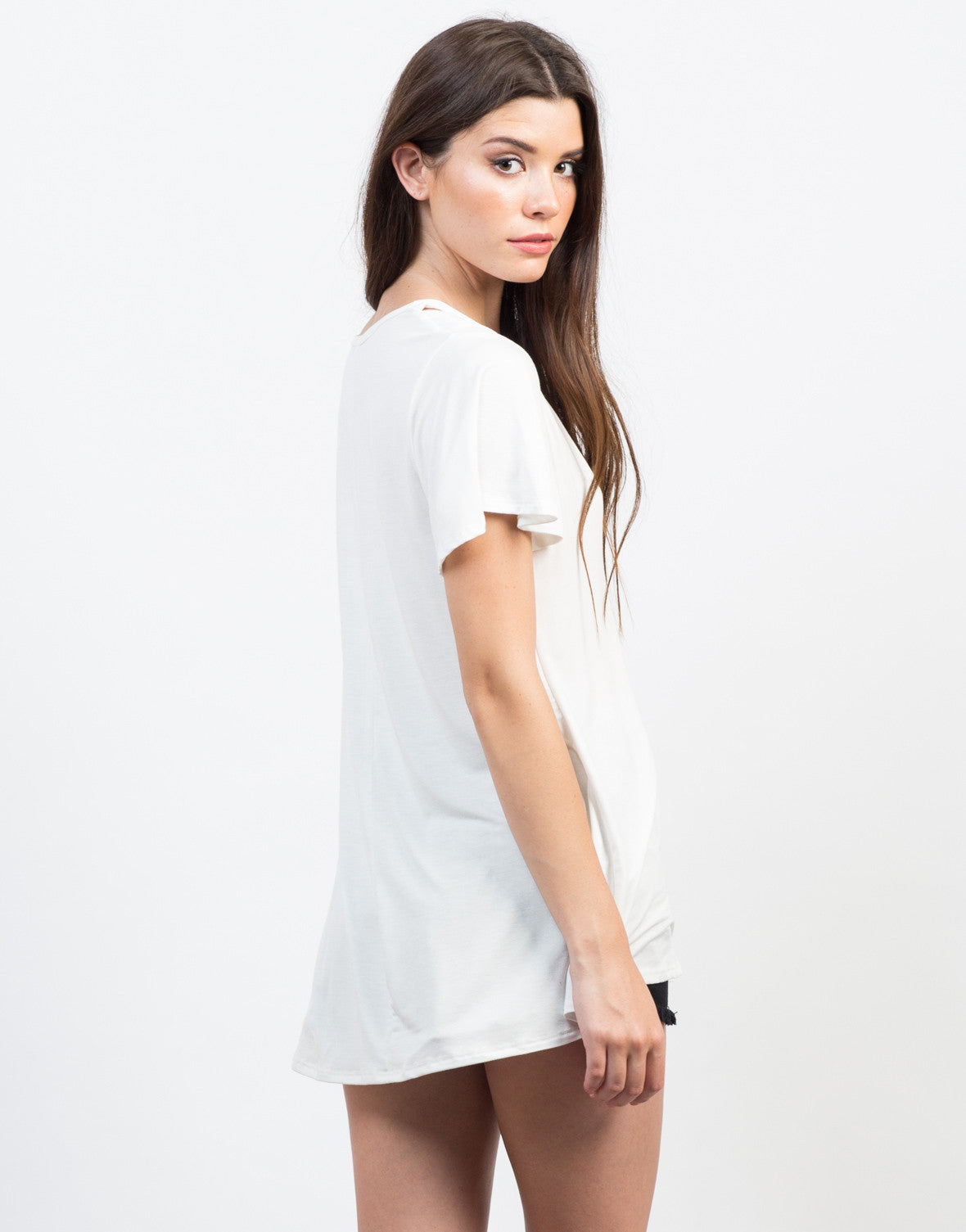 Back View of V Strap Basic Tee