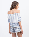 Back View of Vacation Print Off the Shoulder Top