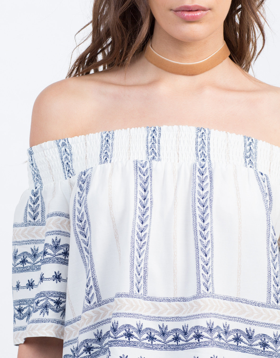Detail of Vacation Print Off the Shoulder Top