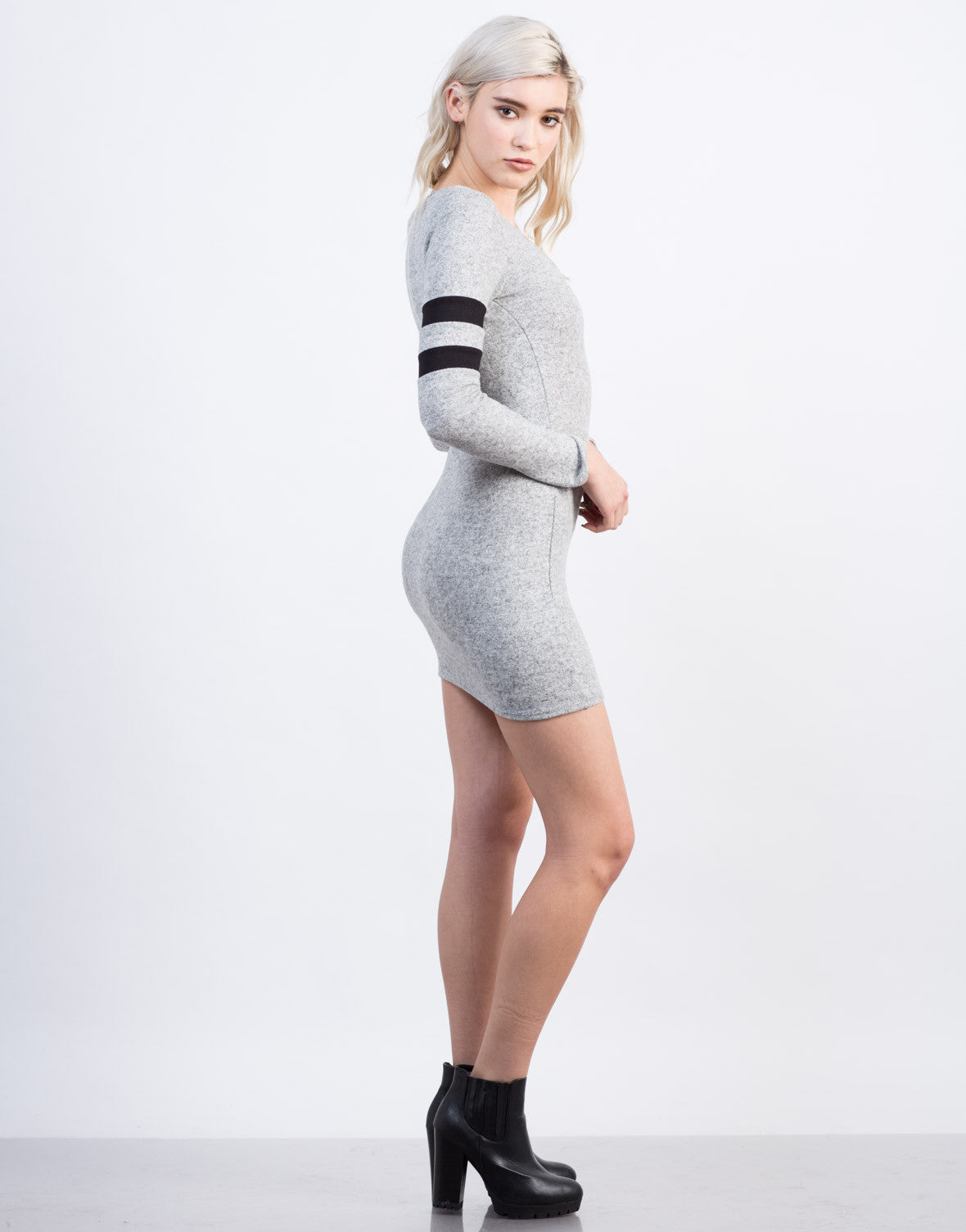 Side View of Varsity Striped Dress