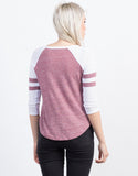 Back View of Varsity Striped Raglan Tee