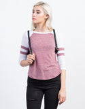 Front View of Varsity Striped Raglan Tee