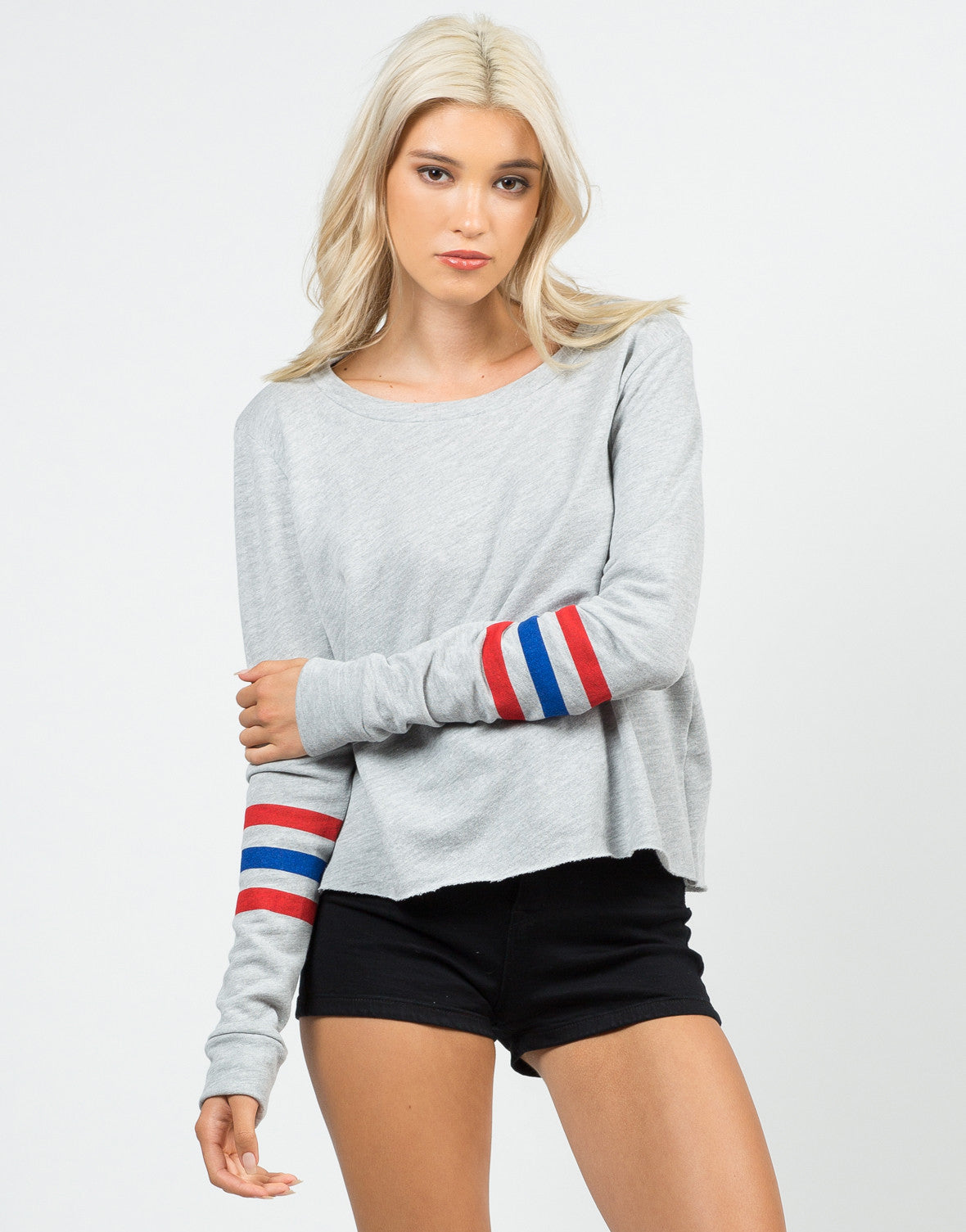 Front View of Varsity Sweater Top