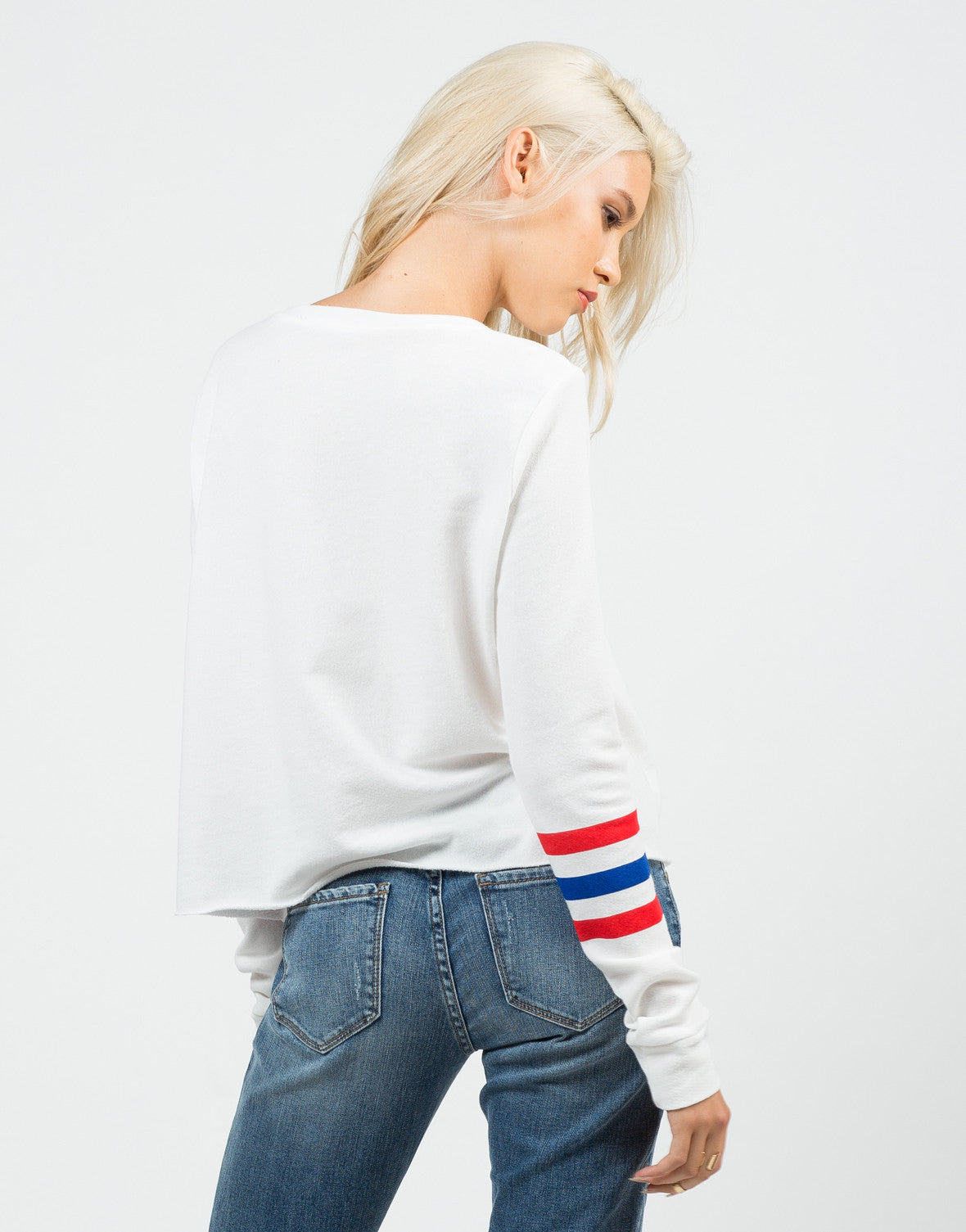 Back View of Varsity Sweater Top