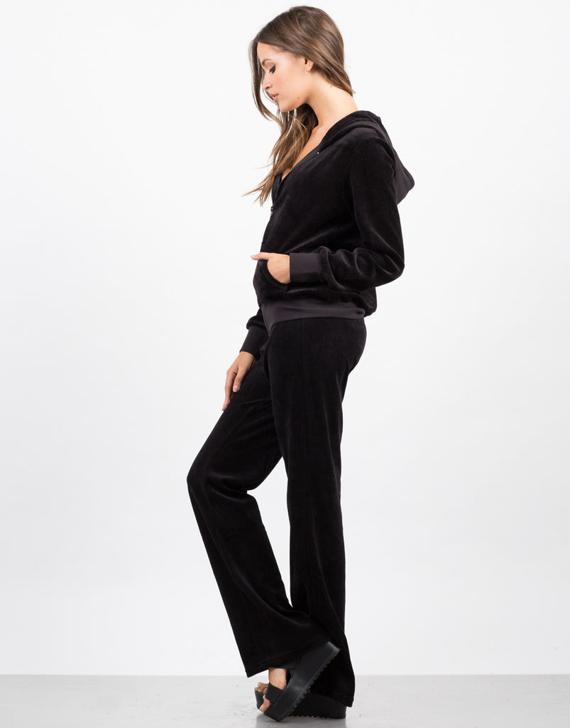 Side View of Velour Tracksuit Set