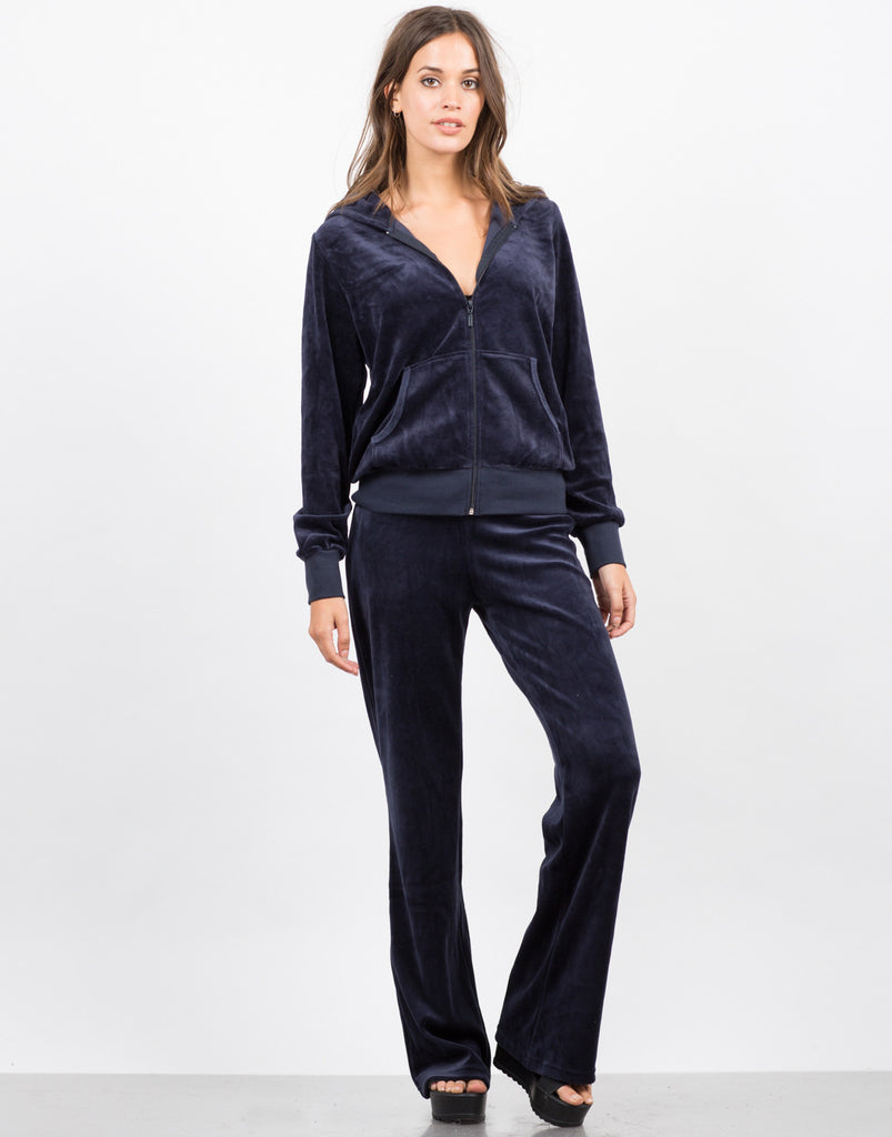Front View of Velour Tracksuit Set