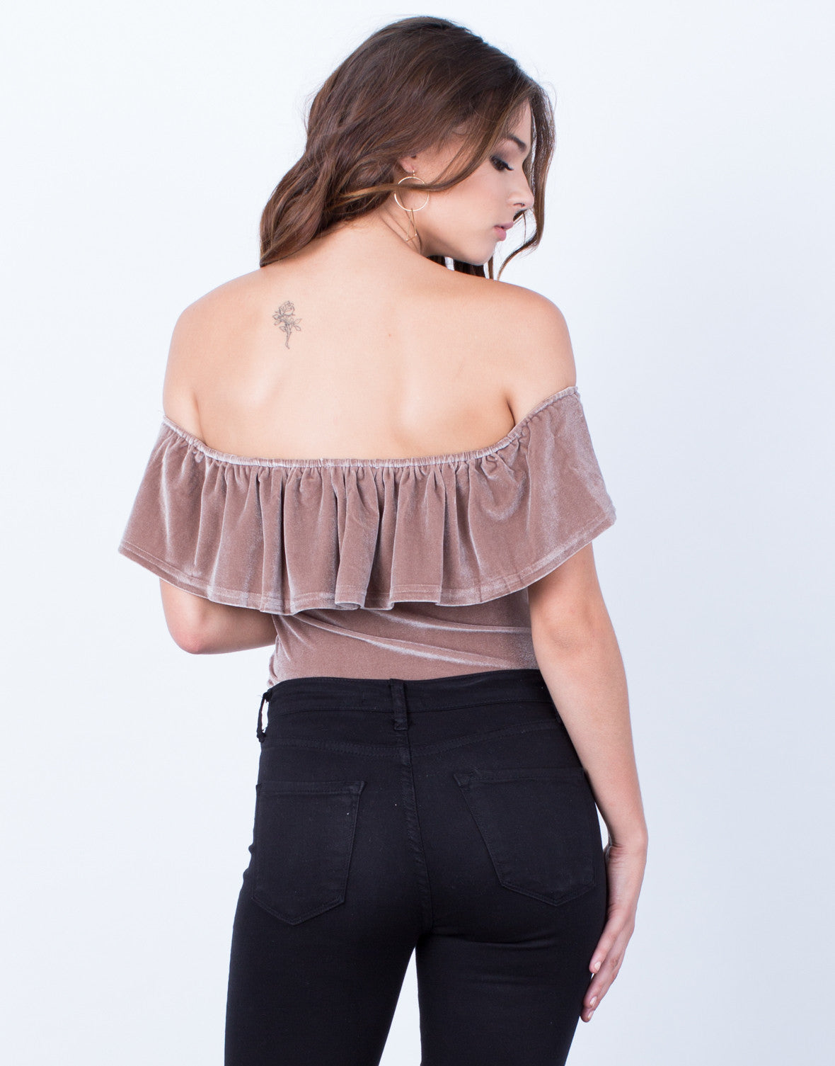 Back View of Velvet Bodysuit