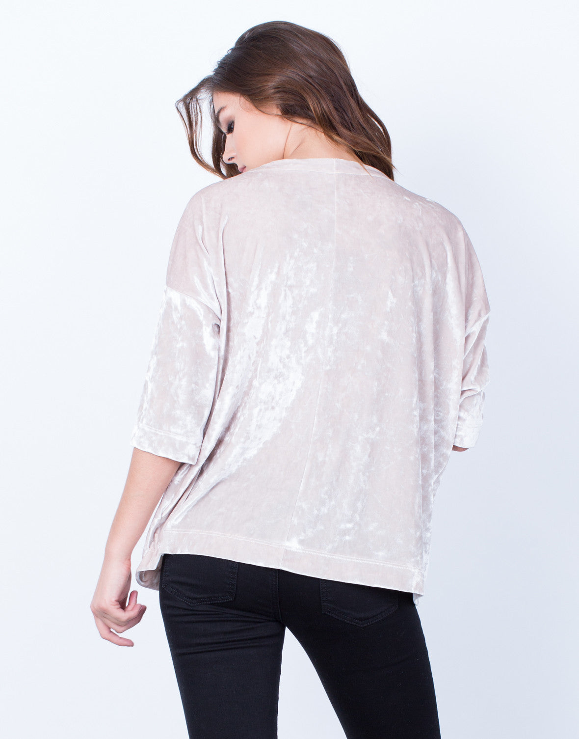 Back View of Velvet Boxy Top