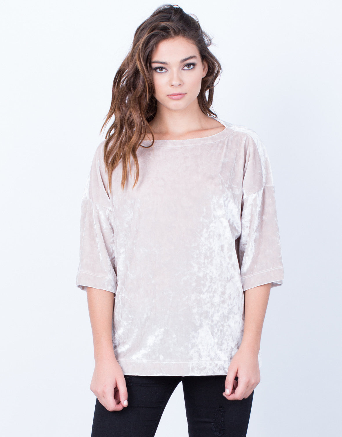 Front View of Velvet Boxy Top